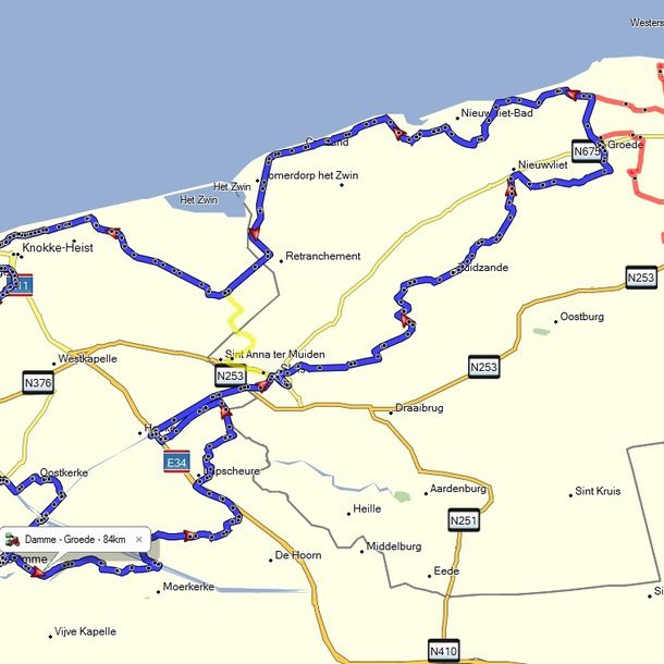 Route Groede - 84 km